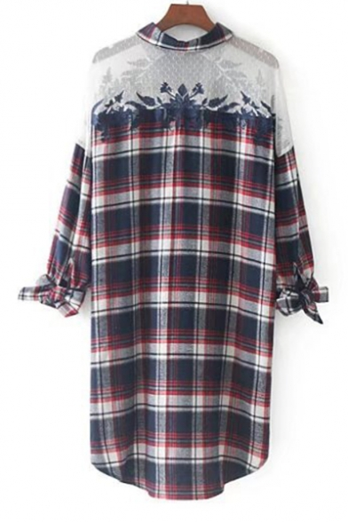 New Arrival Fashion Lace Inserted Plaids Printed Long Sleeve Tunic Shirt