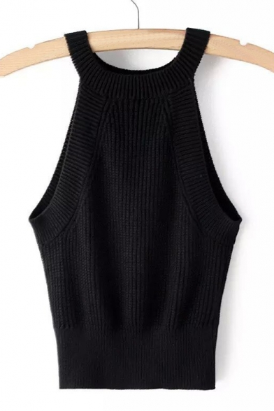 New Stylish Round Neck Classic Plain Tank Pullover Sweater
