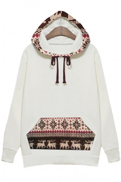 Stylish Drawstring New Hood Sleeve Print Long Tribal Hoodie B8UxUadq