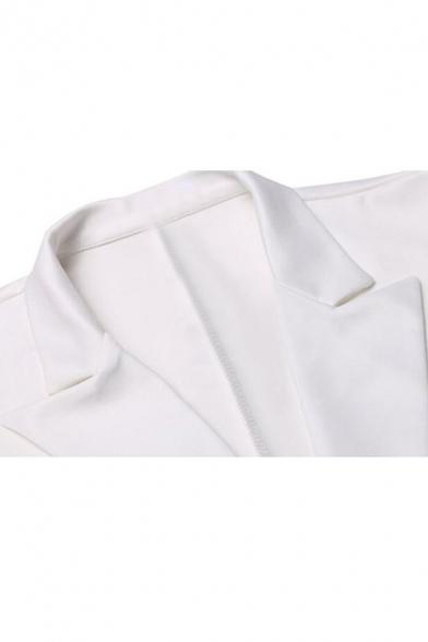 Notch Lapel Buttons Embellished Dipped Hem Long Sleeve Blazer