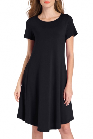 Simple Plain Round Neck Short Sleeve Asymmetric Hem Shift Mini Dress