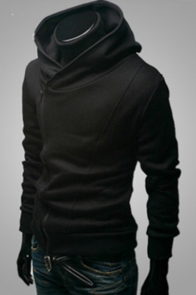 Simple Plain Zippered Long Sleeve Hoodie