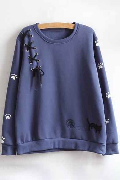 Round Sleeve Embroidered Cat Pullover Neck Long Sweatshirt Cartoon qwxXCx