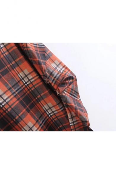 Puff Pattern Mini Plaids V Shift Dress Classic Sleeve Long Neck UIqpxSSw7