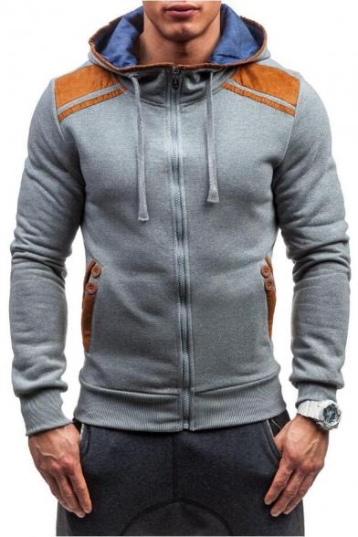 Color Block Zippered Long Sleeve Hoodie