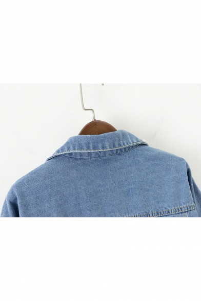 New Down Denim Sleeve Collection Buttons Long Lapel Jacket Collar Plain 6TcqTOUP