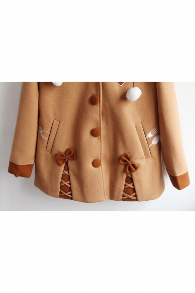 New Fashion Conrast Cuff Bow Embellished Single Breasted Long Sleeve Coat with Hood