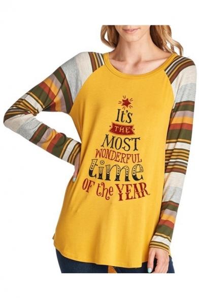 Letter Series Pattern Hem Block Christmas 2017 Color Curved Sleeve T Long Shirt Pullover waZ1qx