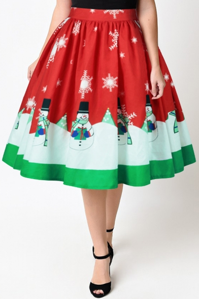 High Waist Christmas Snowman Pattern Midi A-Line Flared Skirt