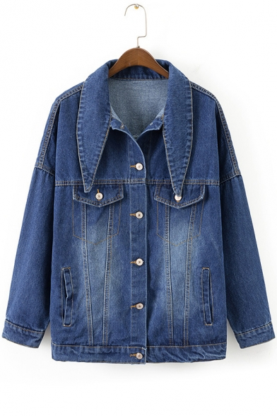 New Lapel Down Collar Sleeve Denim Buttons Jacket Long Collection Plain rfqvxwTr