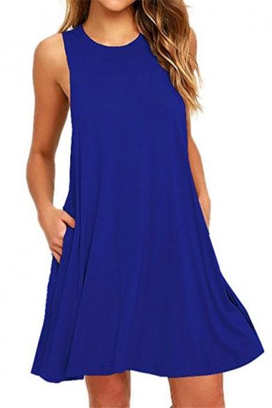 New Fashion Simple Plain Round Neck Sleeveless Mini Swing Dress