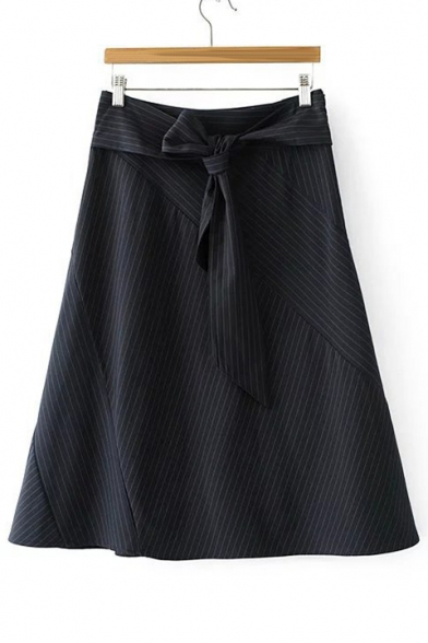 New Stylish Bow Tie Waist Stripe Print A-Line Midi Skirt
