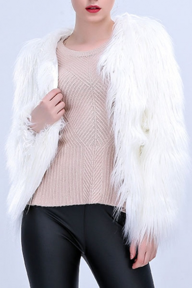 New Stylish Long Sleeve Plain Open Front Faux Fur Coat