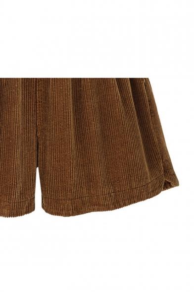 Simple Plain Elastic Waist Textured Dolphin Side Corduroy Shorts