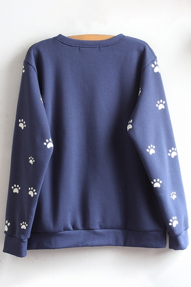 Sleeve Sweatshirt Round Neck Cat Cartoon Long Pullover Embroidered OxR6fnX0