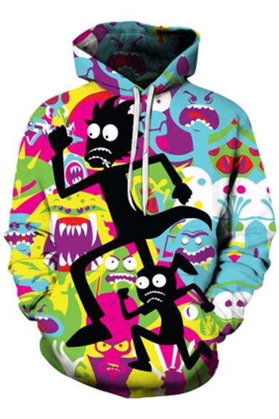 Loose Pockets Printed Hoodie Fashion with Sports Casual 3D Cartoon 1wx4Rx7q