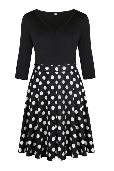 Chic Floral Pattern V-Neck Half Sleeve A-line Mini Dress
