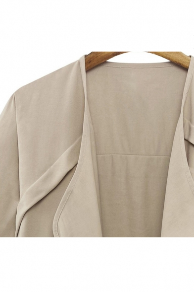 Chic Simple Plain Waterfall Collar Open Front Batwing Long Sleeve Coat