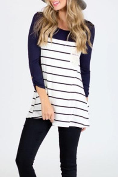 Color Block Panel Striped Pattern Boat Neck Long Sleeve T-Shirt Mini Dress