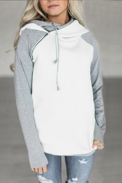 Block Sleeve Raglan Hoodie Long Shoulder Color Zippered T00dq