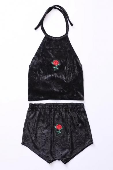 Color Block Rose Embroidered Halter Neck Sleeveless Velvet Top with Elastic Waist Shorts