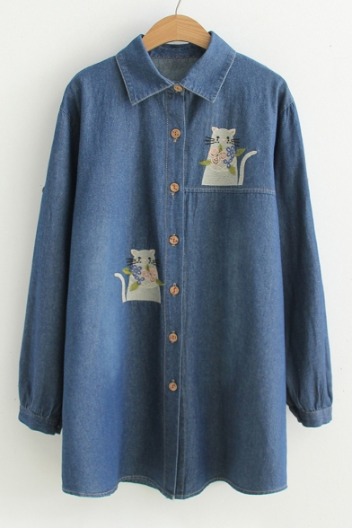 Cute Cat Embroidered Lapel Collar Long Sleeve Single Breasted Denim Tunic Shirt