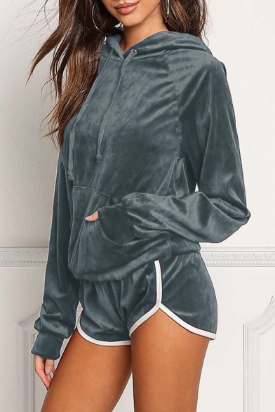 Leisure Plain Long Sleeve Velvet Hoodie with Contrast Trim Sports Shorts