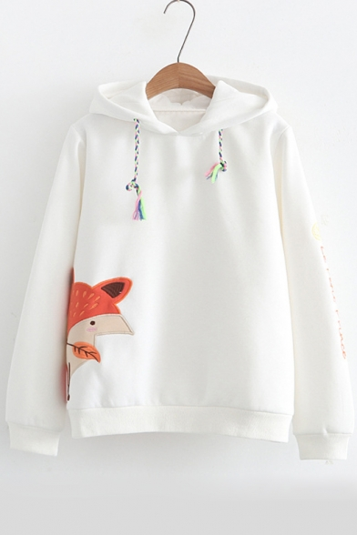 New Arrival Cartoon Fox Embroidered Long Sleeve Leisure Casual Hoodie