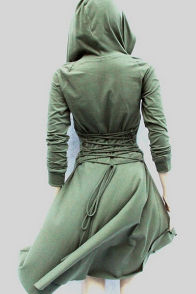 43ccaed3e88 New Stylish Solid Tie Back Long Sleeve Dip Hem Hooded Dress -  Beautifulhalo.com