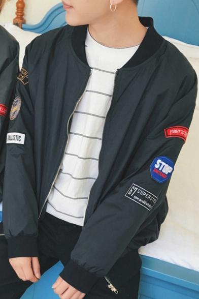 Simple Crew Neck Badge Embellished Side Long Sleeve Zip-Up Bomber Jacket