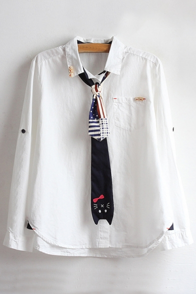 Simple Plain Lapel Collar Long Sleeve Buttons Down Shirt with Tie