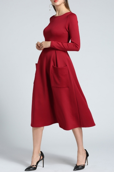 shirt line Plain with Sleeve Simple Neck Dress Pockets T Round Long A Midi 8YwF4q