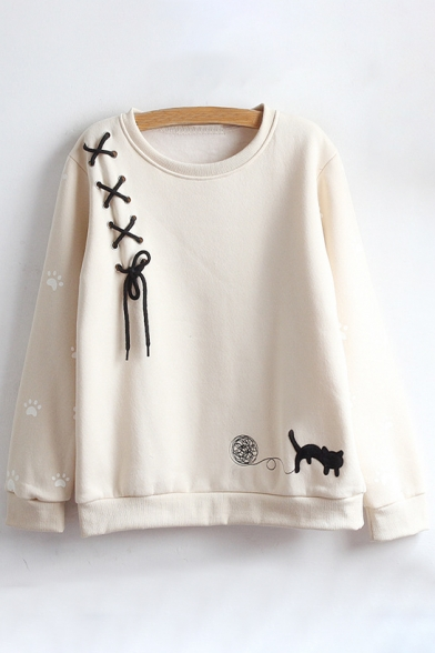 Sleeve Cat Round Long Embroidered Neck Sweatshirt Cartoon Pullover xXn1dOqq