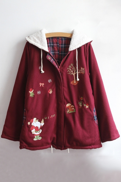Fashion Hooded Embroidery Zipper Theme Leisure Pattern Christmas Coat HqfnHwRA