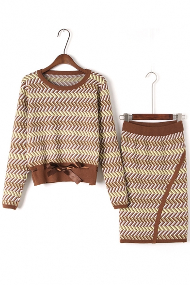 Fashion Striped Pattern Round Neck Long Sleeve Sweater with Pencil Skirt
