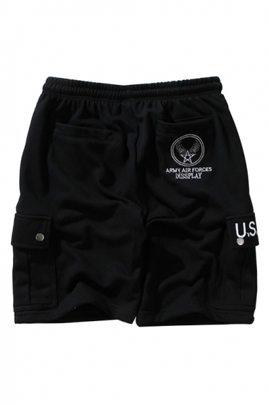Fashionable Letter Embroidered Drawstring Waist Leisure Sports Shorts