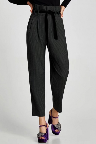 High Rise Tied Waist Striped Pattern Loose Leisure Tapered Pants