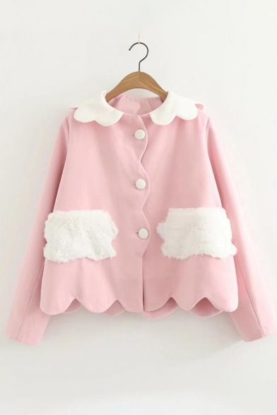 Lovely Peter-Pan Collar Long Sleeve Color Block Buttons Down Coat