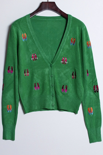 Neck Buttons Cardigan V Embroidered Arrival Long Cartoon Shoes Sleeve Down New qwF6XYSxw