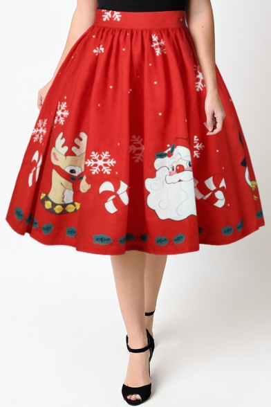 New Arrival High Waist Digital Santa Claus Pattern Midi Flared Skirt