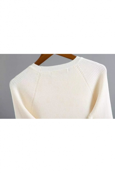 Contrast Trim Pullover Sleeve Simple Flared Sweater Neck Cuff Round Plain Raglan xz0IqwT80