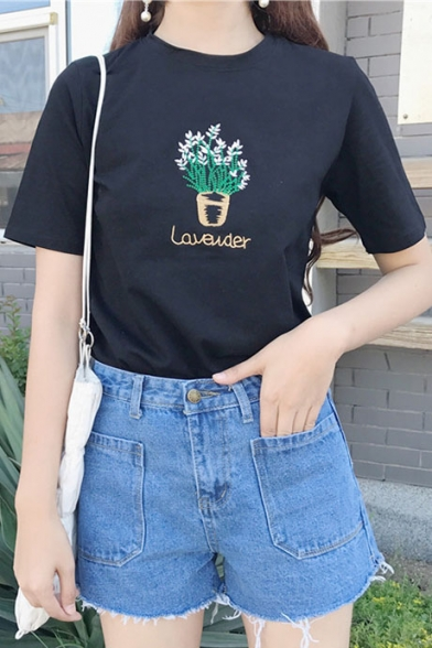Embroidered Neck Plant Tee Short Round Chic Sleeve aCH7wqnZ