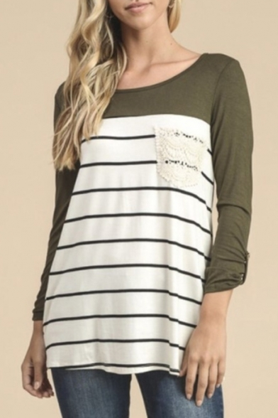 Color Block Panel Striped Pattern Boat Neck Long Sleeve T-Shirt Mini Dress