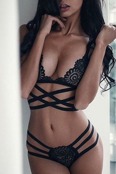 New Arrival Hot Fashion Sexy Hollow Out Lace Inserted Crisscross Bra Set