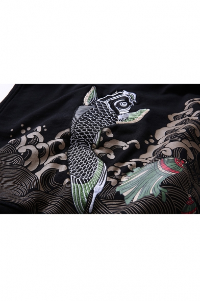 Carp Hoodie Sleeve New Leisure Fashion Embroidered Long wxnCYAE4qR