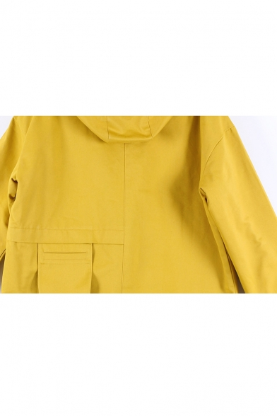 New Fashion Simple Plain Hooded Zippered Long Sleeve Coat