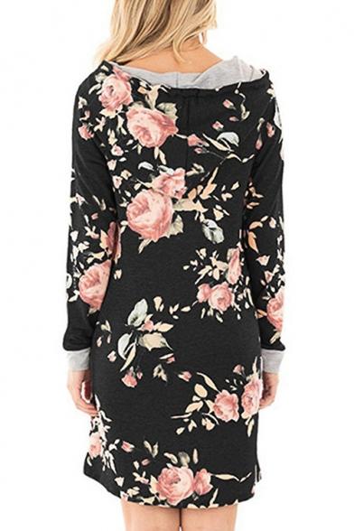 New Stylish Floral Print Drawstring Hooded Long Sleeve Pocket Loose Fit Dress