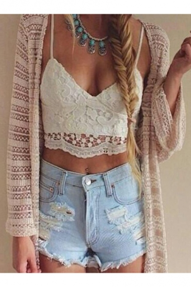 Lace V Spaghatti Cropped Floral Straps Neck Sexy Top 6R5wnF