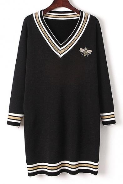 Fashion Striped Pattern Hem V Neck Long Sleeve Midi Knit Dress
