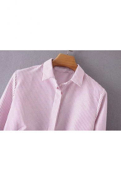 Shirt Sleeve Split Collar Down Buttons Long Flared Lapel Side Striped XwzqpR